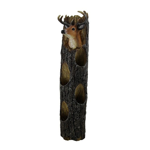 Deer Head On Weathered Log Rustic Wall Mounted 4 Wall Mounted Wine Racks