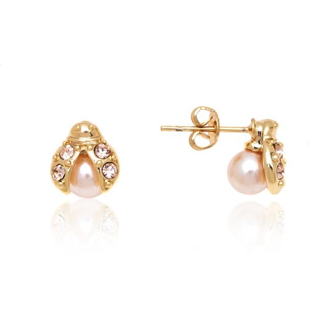 Rose Gold & Crystal Ladybug Stud Earrings
