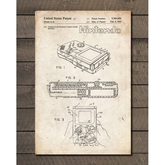 Nintendo Game Boy Patent Print - 3 Colors