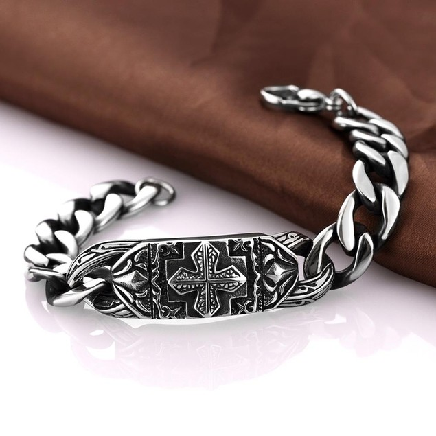 Thick Cut Cross Emblem Stainless Steel Bracelet