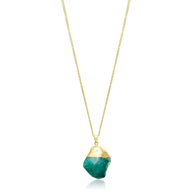30 Carat Natural Green Quartz Necklace, 30 Inches