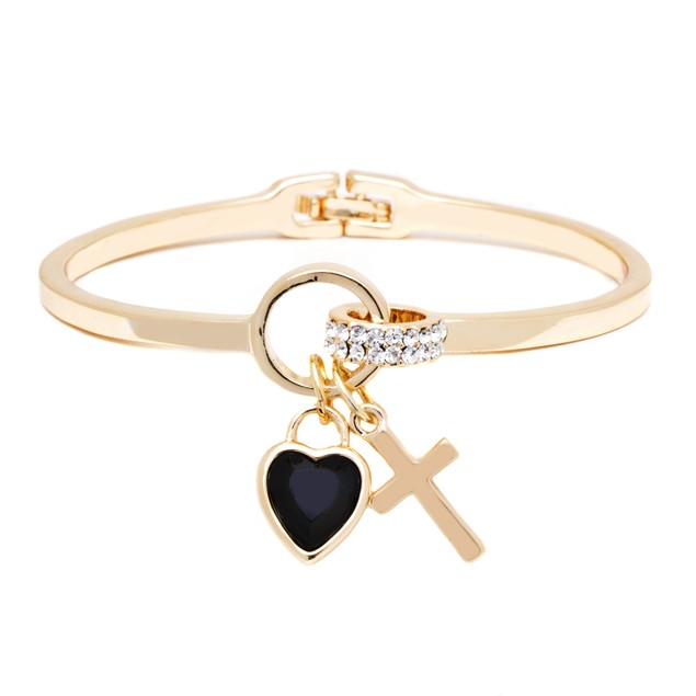 18K Gold Jet Crystal Elements Heart Cross Cuff