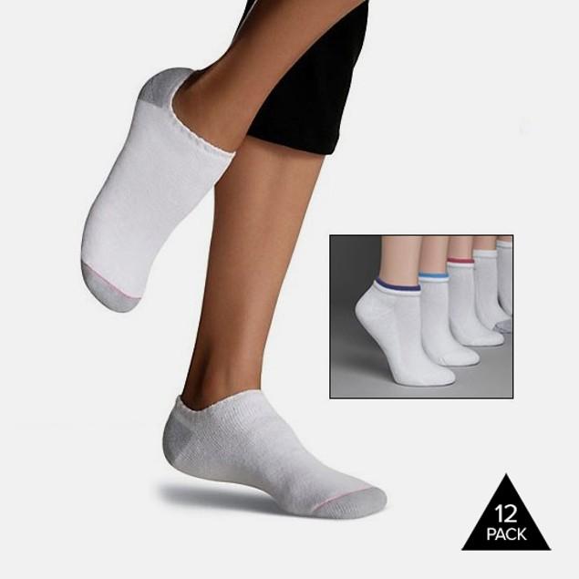 12-Pack Hanes Women's Cushioned Low-Cut Socks