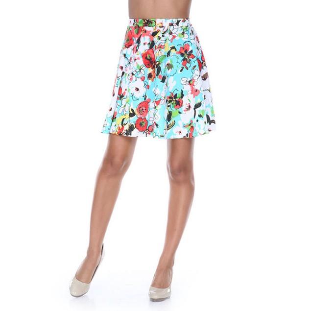 Teal & Red Flower Burst Fit and Flare Skater Skirt