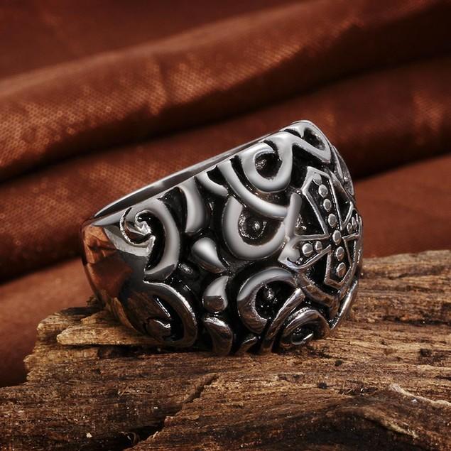 Cross Design Emblem Stainless Steel Ring