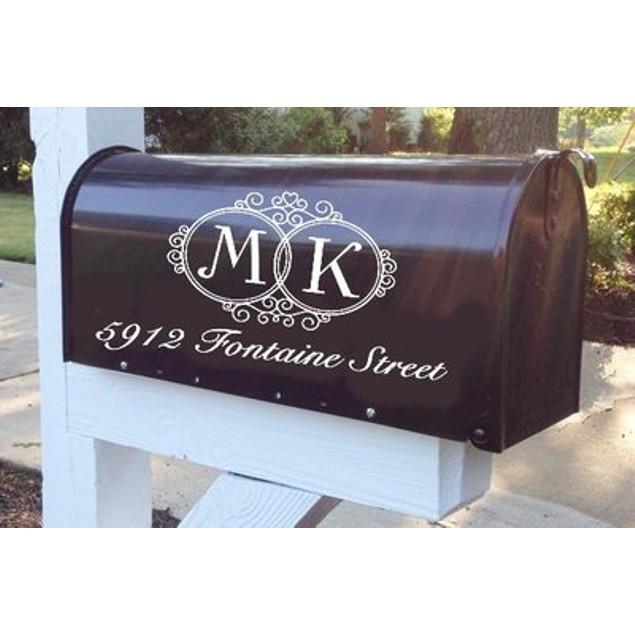 Double Monogram Mailbox Decal