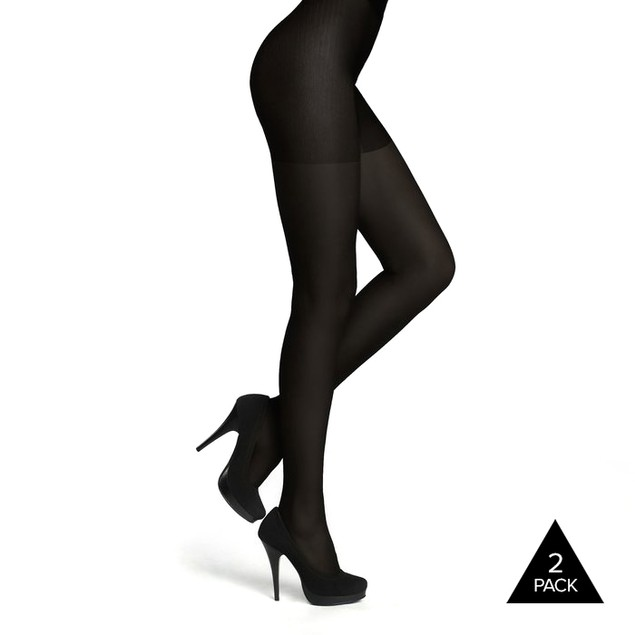 2 Pack: Felicity Black Opaque Pantyhose, Light Control Top