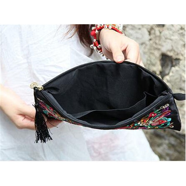 Handbag Vintage Woman Embroidery Small Bag Coin Case   Pansies