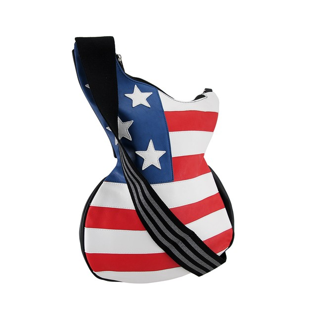 Stars And Stripes Guitar Shaped American Flag Womens Cross Body Bags