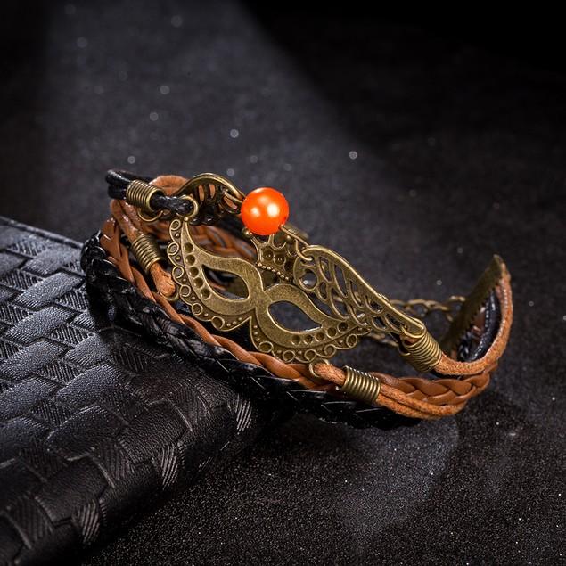 Beige & Black Filligree Mask Emblem