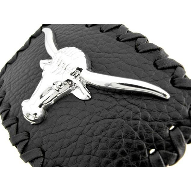 Black Leather / Chrome Longhorn Steer Belt Buckle Mens Belt Buckles