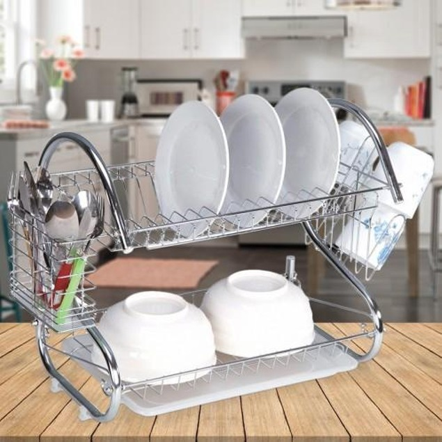 Two-Tier Chrome Finish Dish Rack - Two Sizes
