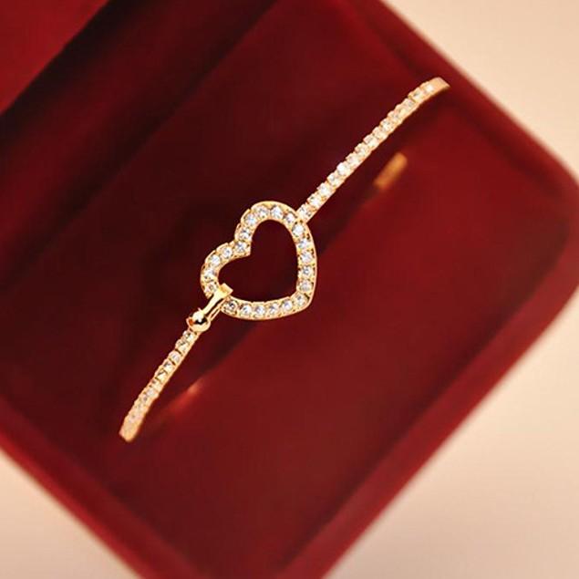 Gold Tone Cubic Zirconia Heart Bangle Bracelet