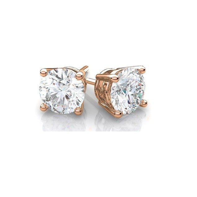 14k Rose Gold Round Cubic Zirconia Stud Earrings (4mm-8mm)