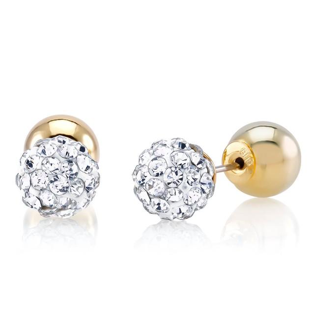 2 Pack: Gold Plated Reversible Crystal Stud Earrings