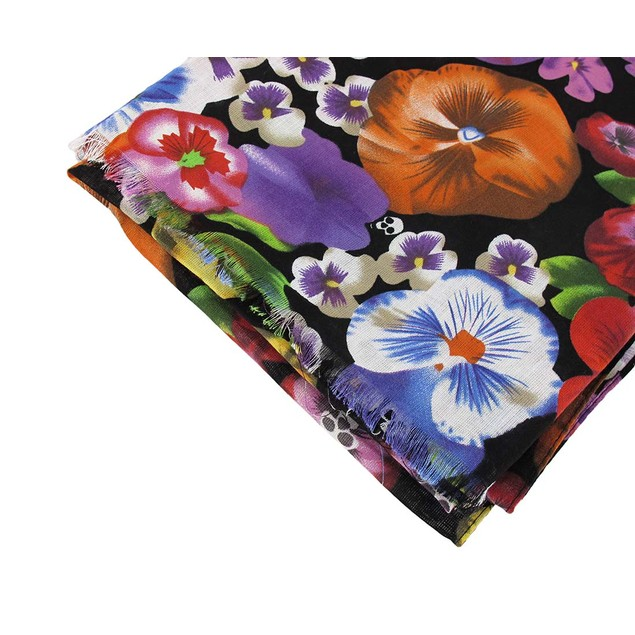 Rayon Fashion Scarf with Floral Skulls