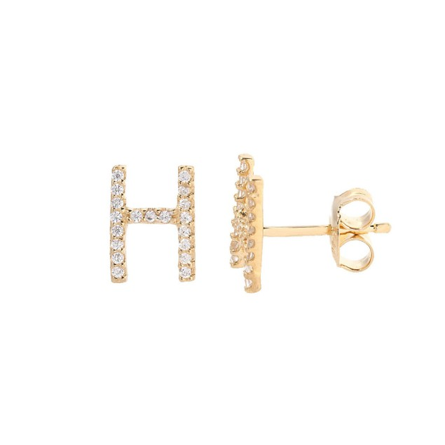 Gold Tone Sterling Silver & Crystal Initial Stud Earrings