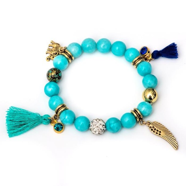 Gold Plated Turquoise Tassel Charm Bracelet
