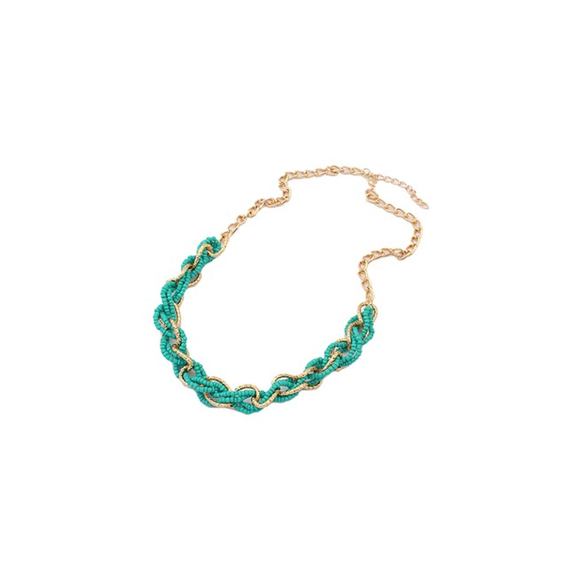Interwoven Statement Necklace - Teal