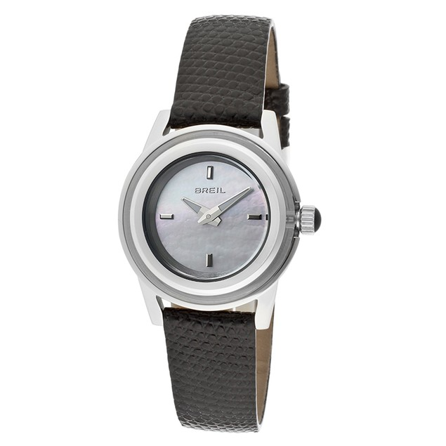 Breil Watches - Women's White Mother Of Pearl Dial Black Genuine Leathe
