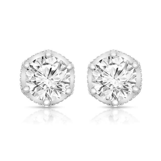 Sterling Silver Round-cut Cubic Zirconia Stone