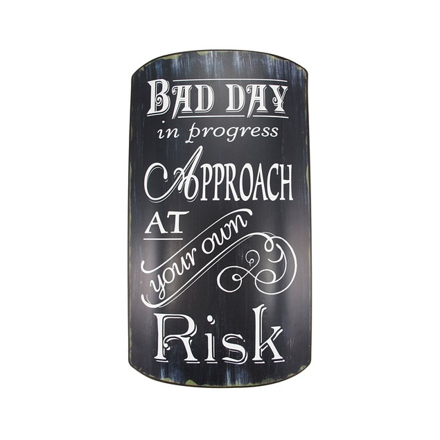 Distressed Finish Retro Bad Day In Progress Metal Yard Signs