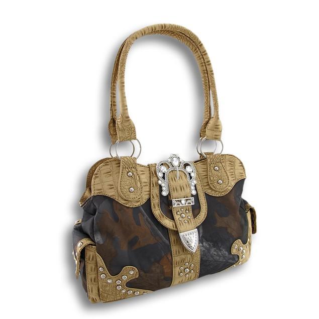 Forest Camo Handbag Ornate Rhinestone Buckle Mock Womens Shoulder Handbags