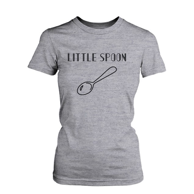 Big Spoon and Little Spoon Couple Shirt Cute Matching Heather Grey T-shirts