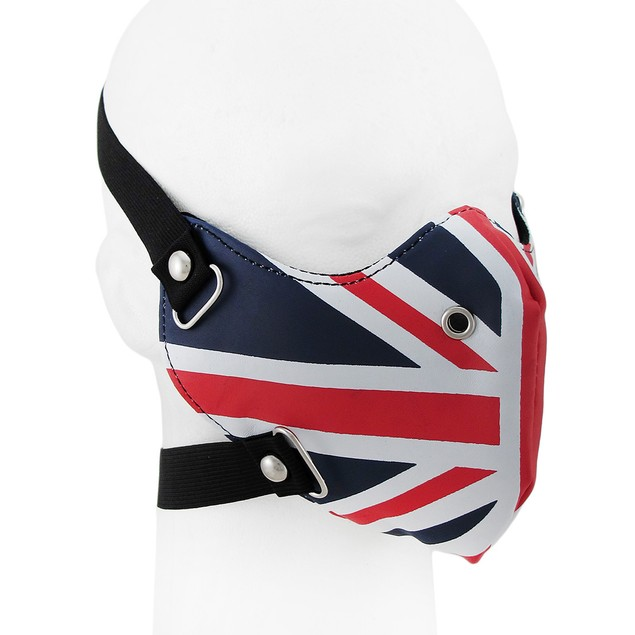 Blue White And Red Union Jack Flag Vinyl Half Face Mens Costume Masks