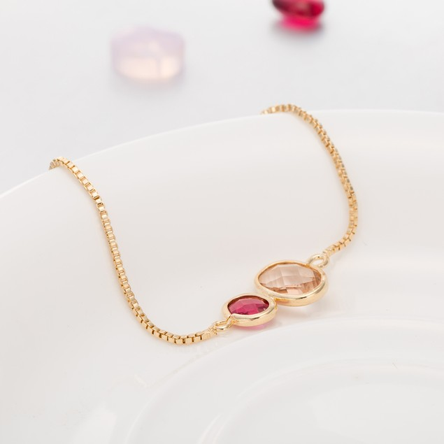 Gold Plated Duo Circular Citrine & Ruby Gem Bracelet