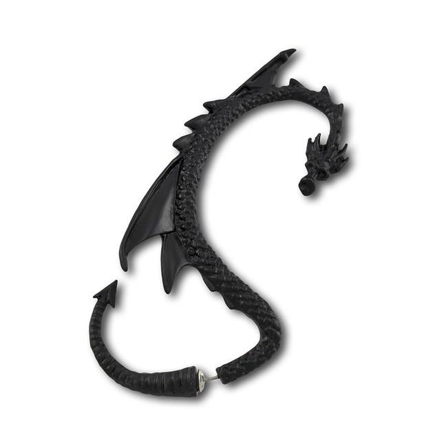 Alchemy Gothic Black Dragon Double Sided Ear Wrap Mens Earrings
