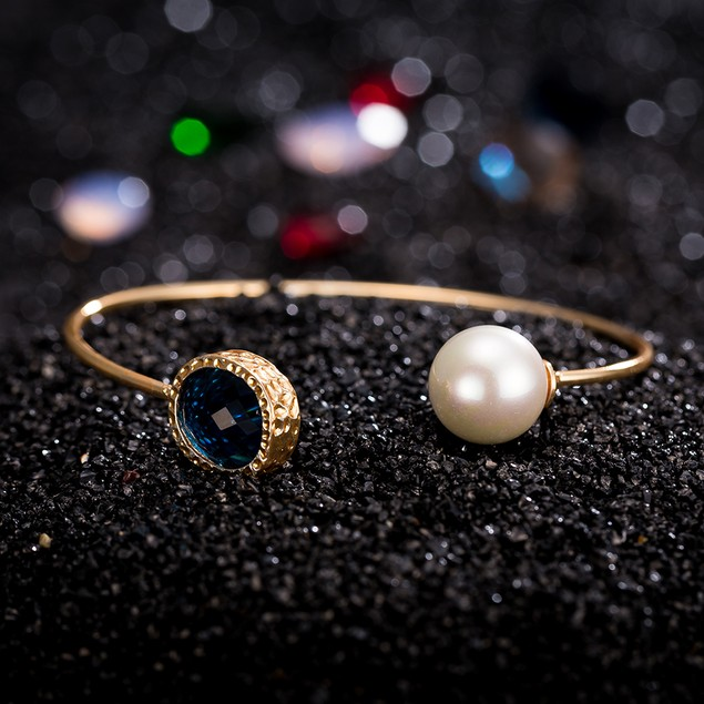 Gold Plated Open Pearl Turquoise Gem Bangle