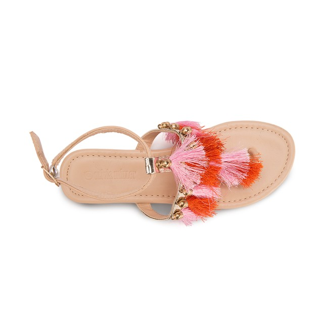 Olivia Miller 'Jupiter' Multi Color Block Tassel Sandals