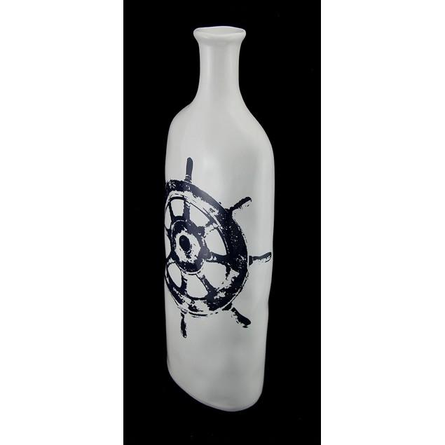 Vintage Nautical Wheel Design Decorative White Decorative Vases
