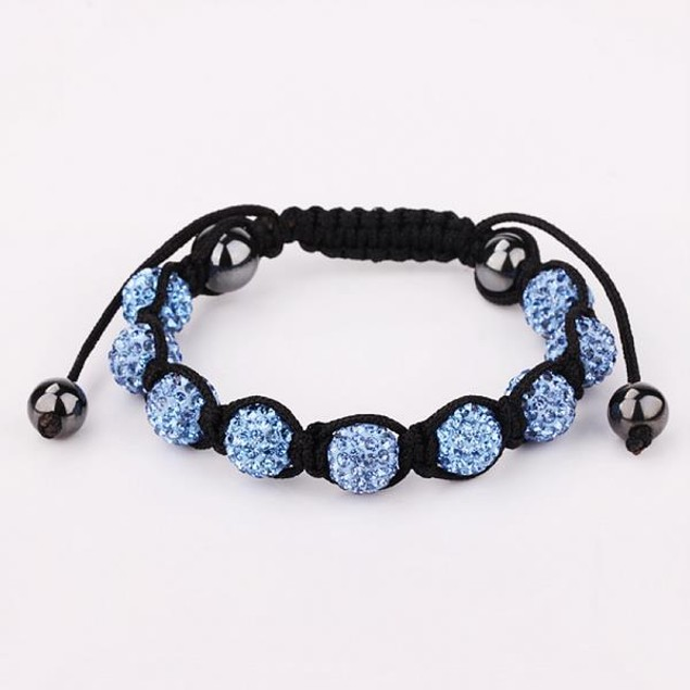80's Glam Eight Beads Austrian Crystal Bracelet - Vibrant Sapphire
