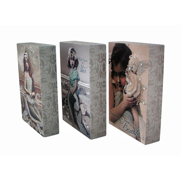 Set Of 3 Vintage Style Young Mermaid Canvas Prints Prints
