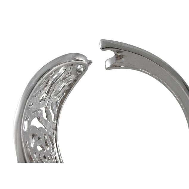Rhinestone Encrusted Open Work Flower Hinged Womens Clasps Bracelets