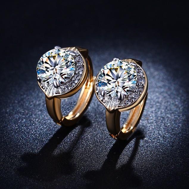 Vintage Style Gold Tone Cubic Zirconia Huggie Earrings