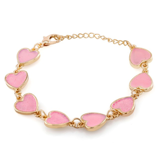 Kids Gold Plated Pink Heart Enamel Bracelet