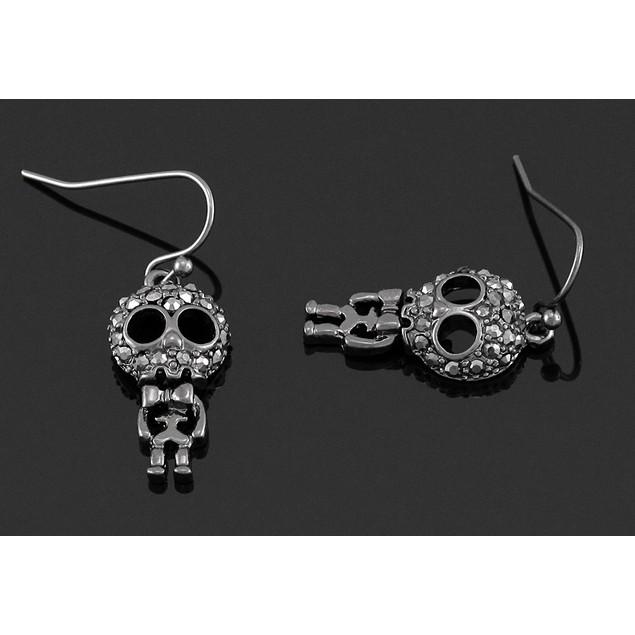 Gunmetal Big Head Skelly Dangling Skeleton Dangle Earrings