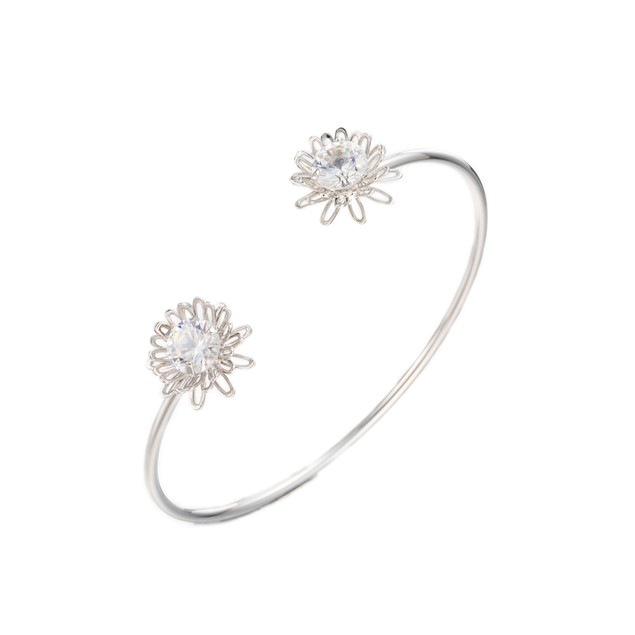 White Gold Plated Pave Daisy Bangle