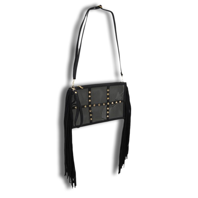 Spiked Clear Vinyl Clutch Purse With Black Mesh Womens Clutch Handbags