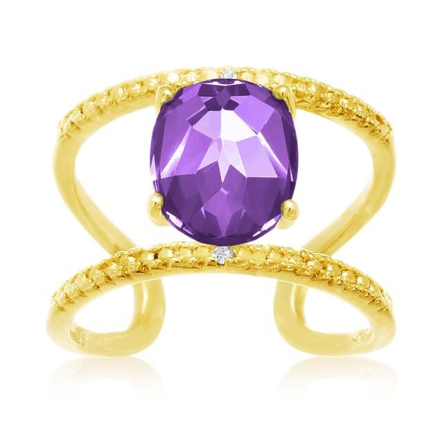 Amethyst and Diamond Open Shank Ring