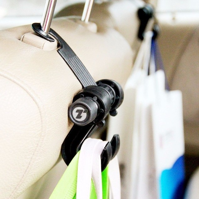 Zone Tech Headrest Car Seat Double Hook Holder Hanger Bag Organizer Coat