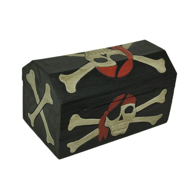 Set Of 4 Wooden Pirate Skull Treasure Chests Black Trunks