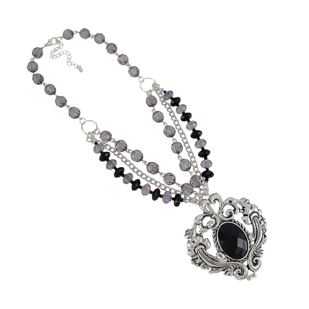 Gothic Scroll Pendant Faceted Bead Strand Necklace Womens Earring And