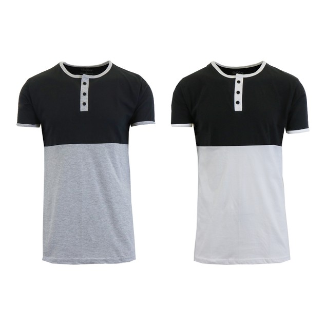 2-Pack Men's 100% Cotton Short Sleeve Henley Tees