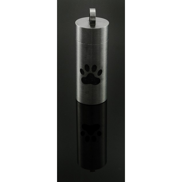 Stainless Steel Engraved Paw Print Chamber Stash Pendants