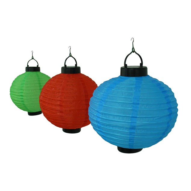 6 Pc. Red Green Blue Solar Powered Led Hanging Outdoor Lighting