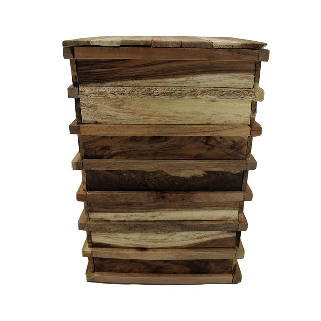 Stacked Recycled Acacia Wood Accent Stool/Plant Plant Stands